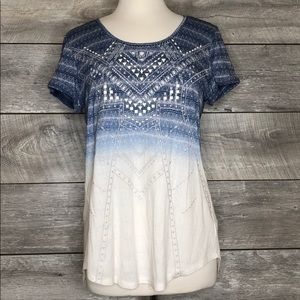 Miss Me Flowy Tee Size L Ombré Studded Embroidered